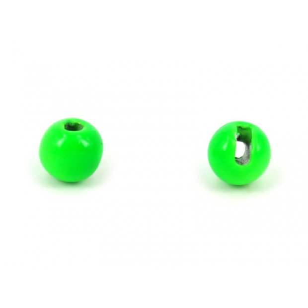 Tungsten beads slotted - FLUO GREEN - 10 pc.