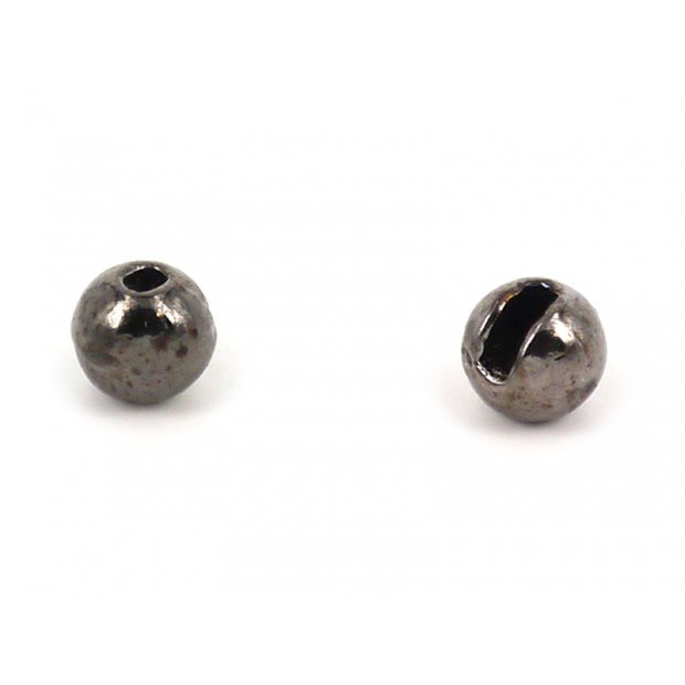 Tungsten beads slotted - BLACK NICKEL - 100 pc.