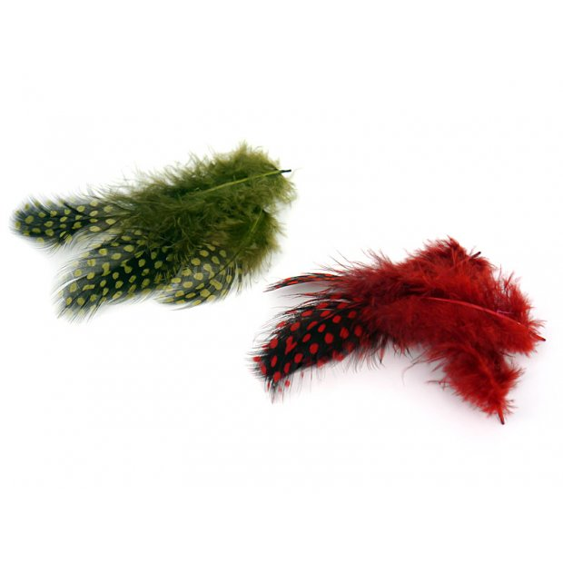 GUINEA FOWL PLUMAGE HACKLES hotfly - 10 pc. - 6/10 cm