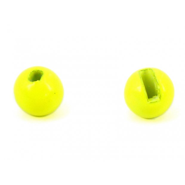 Tungsten beads slotted - FLUO YELLOW - 10 pc.